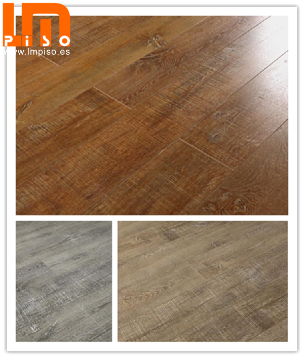 Alta calidad pisos flotantes laminados handscraped with wood grain antique design